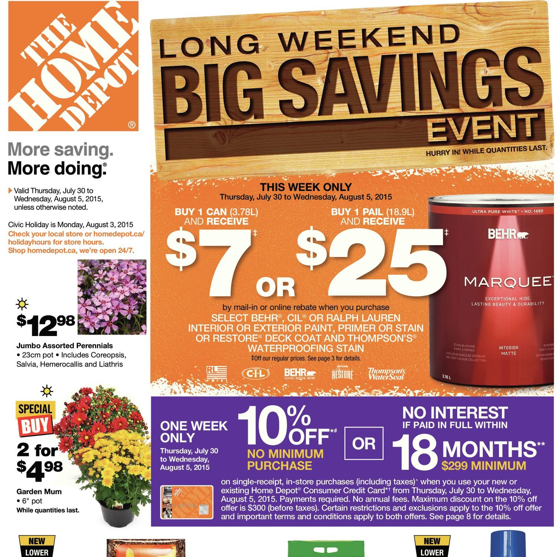 9d205ea1e4 Home Depot Weekly Flyer - Weekly - Long Weekend Big Savings Event - Jul 30  – Aug 5 - RedFlagDeals.com