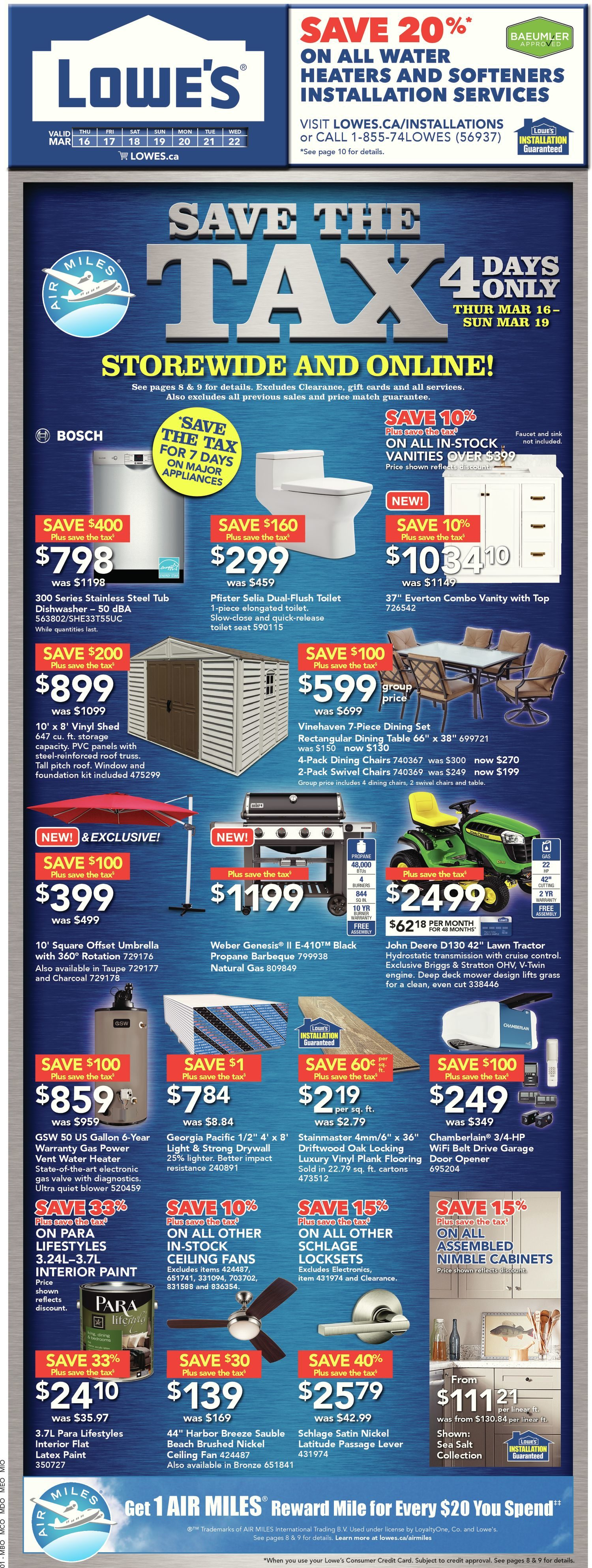 Lowe\'s Weekly Flyer - Weekly - Save The Tax - Mar 16 – 22 ...