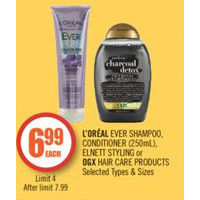 L'oreal Ever Shampoo Conditioner, Elnett Styling Or OGX Hair Care Products