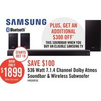 Samsung 536 Watt 7.1.4 Channel Dolby Atmos Soundbar & Wireless Subwoofer