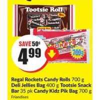 Regal Rockets Candy Rolls, Deli JelIies Bag, Tootsie Snack Bar, Candy Kidz Pik Bag