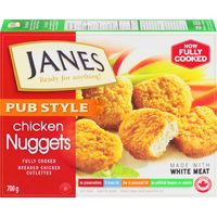 Janes Pub Style Chicken Burgers, Nuggets, Strips Or Popcorn