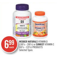 Webber Naturals Vitamin D Or Sunkist Vitamin C Products