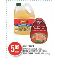 Uncle Ben's Converted Rice, Unico Vegetable Oil Or Maple Leaf Canned Ham