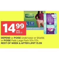 Depend Or Poise Underwear Or Shields Or Poise Pads Large Pack