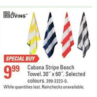 For Living Cabana Stripe Beach Towel