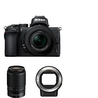 Nikon Z 50 Camera Body With NIKKOR Z DX 16-50mm VR Lens, Plus 50-250mm f/4.5-6.3 VR Lens And FTZ Mount Adapter