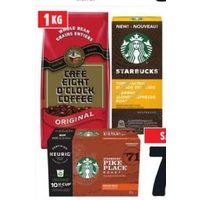 Eight O'clock Bean Coffee Starbucks K-Cup or Nesresso Coffee Capsules or Starbucks Ground Coffee