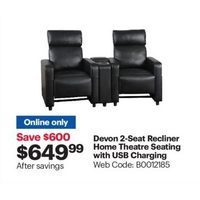 Devon 2-Seat Recliner Home Theatre Seating With USB Charging