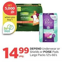 Depend Underwear Or Shields Or Poise Pads Large Packs