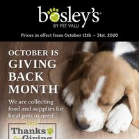 Pet Valu - Bosley's - October is Giving Back Month Flyer