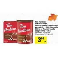 Tim Hortons Hot Chocolate, French Vanilla Cappuccino Sachets, Hot Chocolate Or French Vanilla Cappuccino