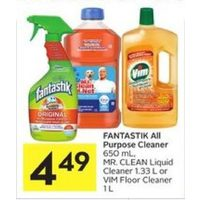 Fantastik All Purpose Cleaner, Mr. Clean Liquid Cleaner Or Vim Floor Cleaner