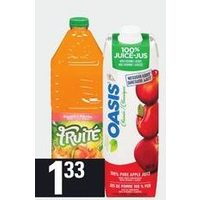 Fruite Drink or Tetley Iced Tea or Oasis 100% Juice Blends, Del Monte Nectar, Hydrafruit, Fruit, Arizona Tea or Fruitszoo Juice