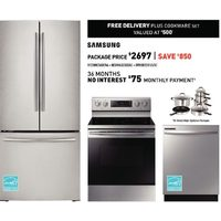 "Samsung 30"" French Door Refrigerator, Electric Range 5.9 Cu. Ft. with Fan Convection Oven, 24"" Built-in Dishwasher"