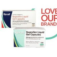 Rexall Brand Extra Strength Ibuprofen Liquid Gels, Caplets Regular Strength Liquid Gel Capsules or Tables or Night Pain Relief Capsules