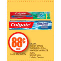 Colgate Twister Manual Toothbrush Or Maxfresh Toothpaste