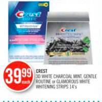 Crest 3D White Charcoal Mint, Gentle Routine Or Glamorous White Whitening Strips