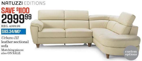 Sears Natuzzi Editions Urbano Iii Leather Sectional Sofa