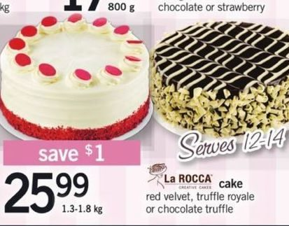 Fortinos La Rocca Red Velvet Truffle Royale Or Chocolate Cake