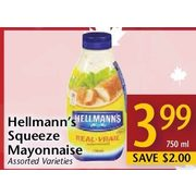 Hellmann's Squeeze Mayonnaise  - $3.99/750 ml ($2.00 off)