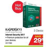 Kaspersky Internet Security 2017 - $29.86 ($50.00 off)