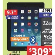 "Apple 9.7"" Touch Screen iPad 4 - $309.99"