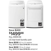 LG Top Load Laundry Pair - $1499.98 ($400.00 off)