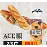 Ace Bakery White Baguette or Baguette Bagels, Sesame or White - 2/$6.00