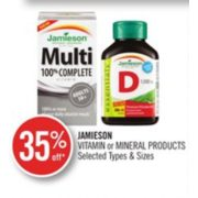 35% Off Jamieson Vitamin or Mineral Products