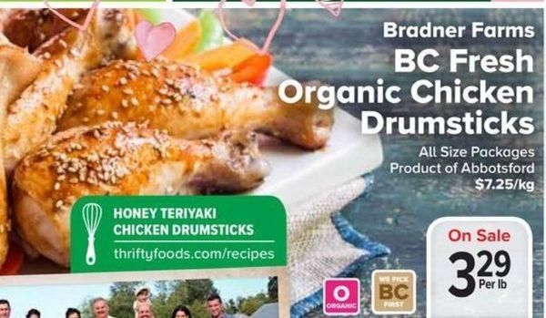 Thrifty Foods Bradner Farms Bc Fresh Organic Chicken Drumsticks
