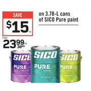 3.78 L Cans Of Sico Pure Paint - From $23.99 ($15.00 off)