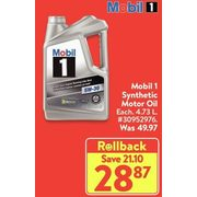 Mobil 1 Synthetic Motor Oil - $28.87 ($21.10 off)