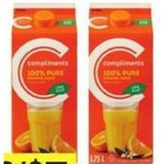 Compliments 100% Pure Orange Juice - 2/$5.00